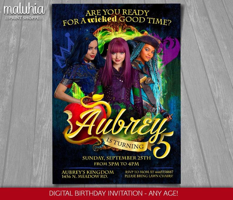Descendants Invitation Disney 2 Invite
