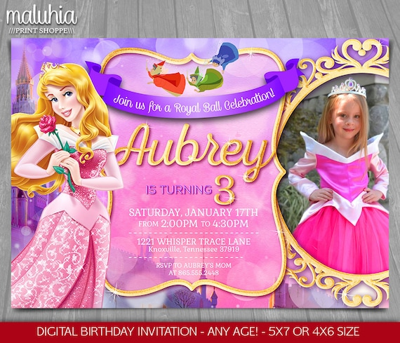 Sleeping Beauty Invitation Disney Aurora Invite