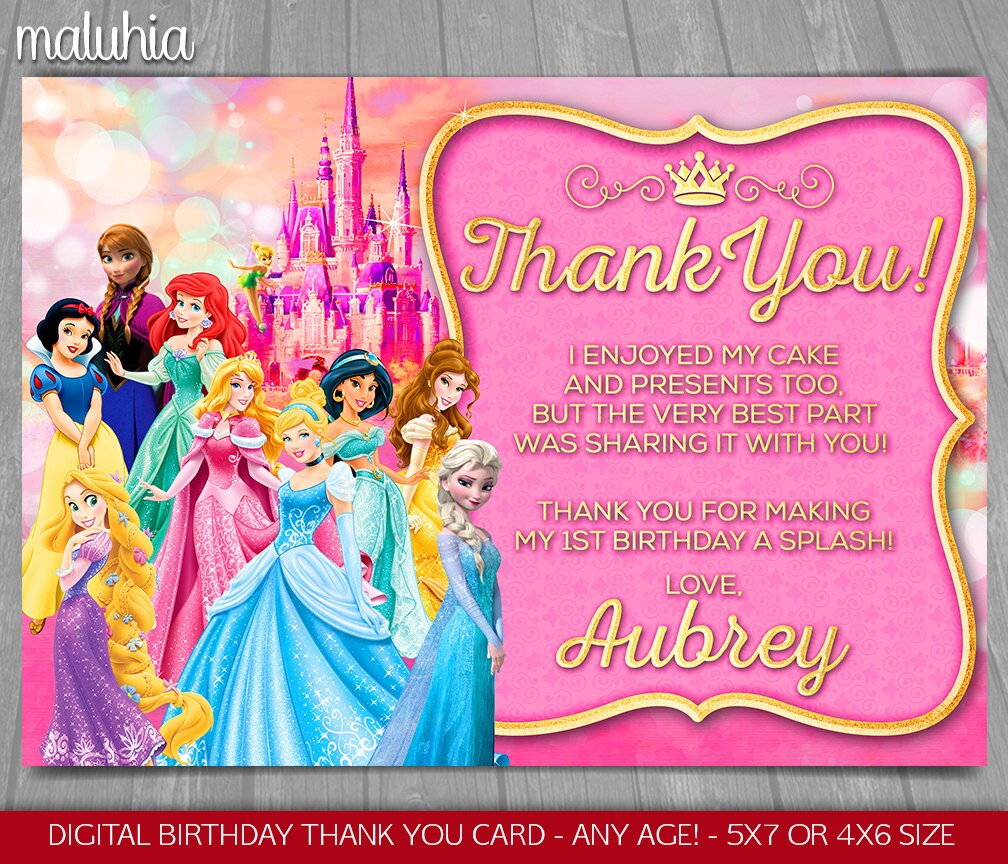 Disney Princess Thank You Card Disney Princesses Birthday Etsy