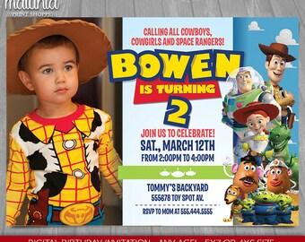Toy Story Invitation - Toy Story Invite - Disney Pixar Toy Story Birthday Printed Invitation with photo - Toy Story Birthday Party (TYIN02)