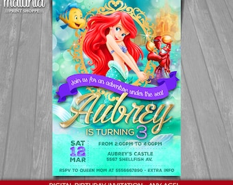 Little Mermaid Invitation Disney Ariel Invite Little