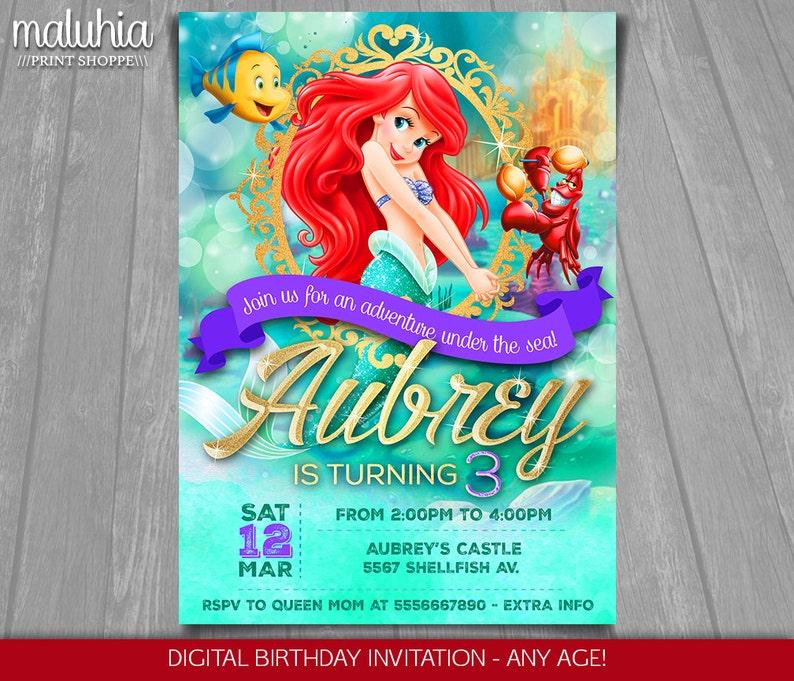 The Little Mermaid Invitation Disney Ariel Invite
