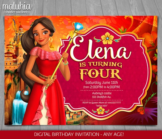 Elena Of Avalor Invitation Disney Princess Invite