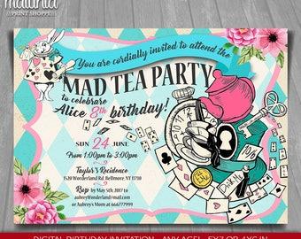 Alice in Wonderland Invitation - Alice in Wonderland tea party Invite - Mad Hatter Tea Birthday Printed or Printable Invitation (WOIN01)