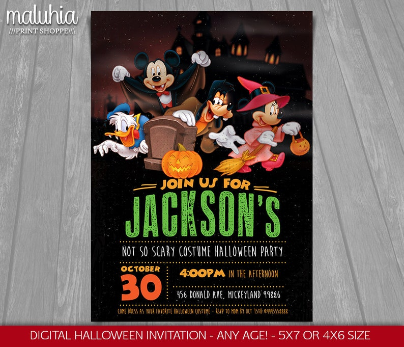 Mickey Mouse Halloween Birthday Invitation