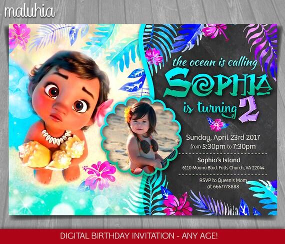 Moana Invitation Disney Baby Invite Birthday