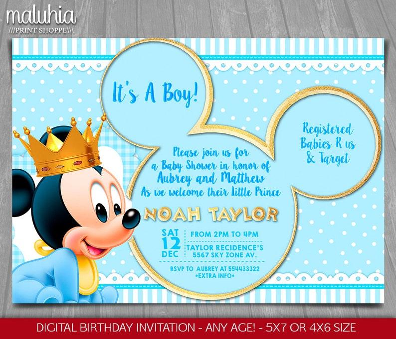 Baby Mickey Mouse Baby Shower Invitation Baby Prince Mickey Etsy