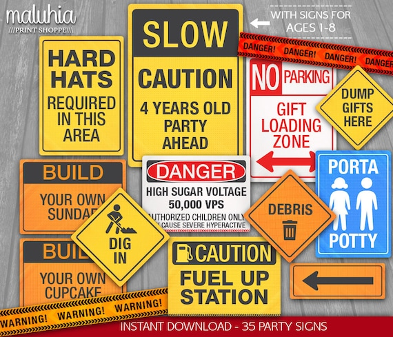 Construction Party Signs INSTANT DOWNLOAD 35 Construction Etsy