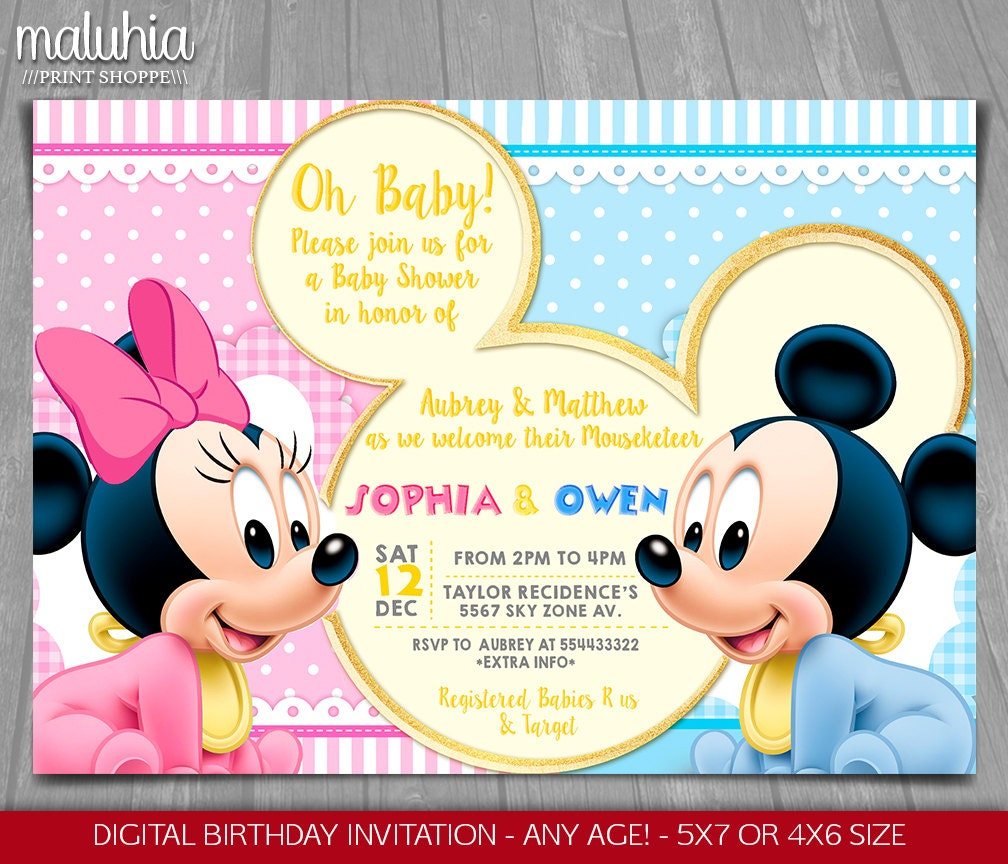 Baby Mickey Minnie Mouse Shower Invitation