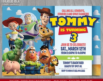 Toy Story Invitation - Toy Story Invite - Disney Pixar Toy Story Printed Invitation - Toy Story Birthday Party - Woody Buzz (TYIN01)