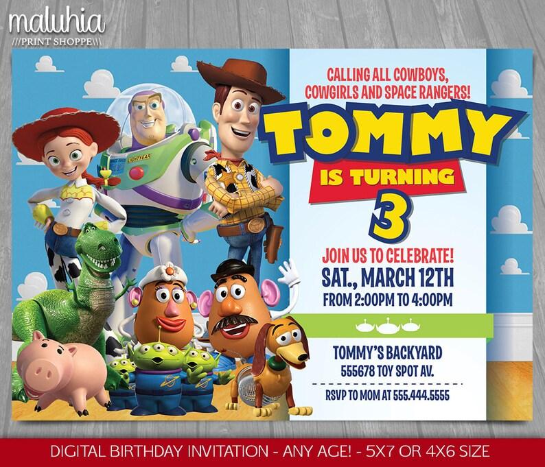 Toy Story Invitation Toy Story Invite Disney Pixar Toy Etsy