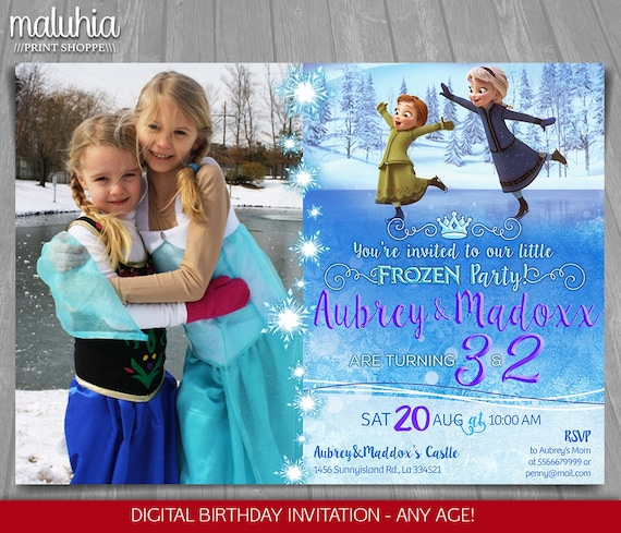 Frozen Birthday Invitation Elsa Anna Kids