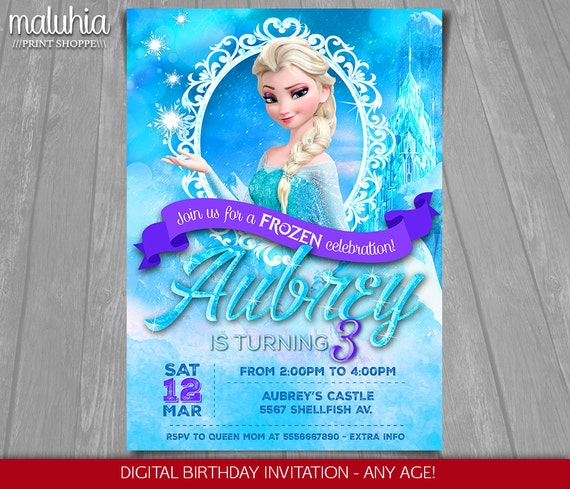 Frozen Birthday Invitation Elsa Frozen Invitation Printable Etsy