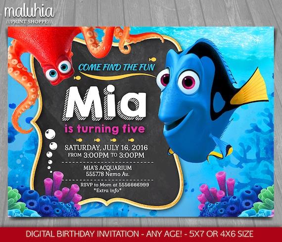 Finding Dory Invitation Finding Nemo Invite Disney Pixar Etsy