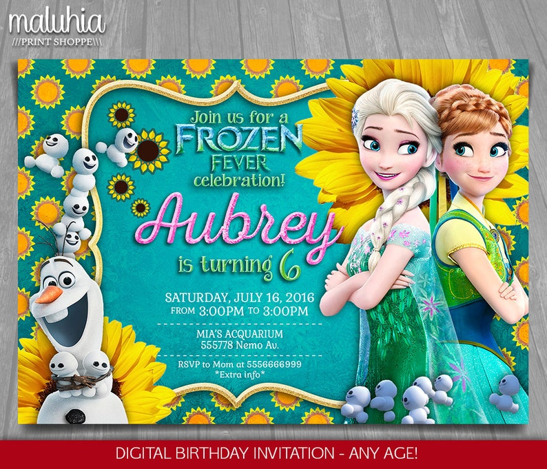 Frozen Fever Invitation Frozen Summer Invitation Frozen Fever Snowgies Printed Invite Olaf Elsa Anna Party Birthday Party Printable