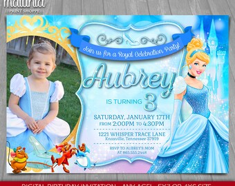 Cinderella Invitation - Disney Cinderella Invite - Cinderella Birthday Printed Invitation with photo - Cinderella Birthday Party (CIIN02)