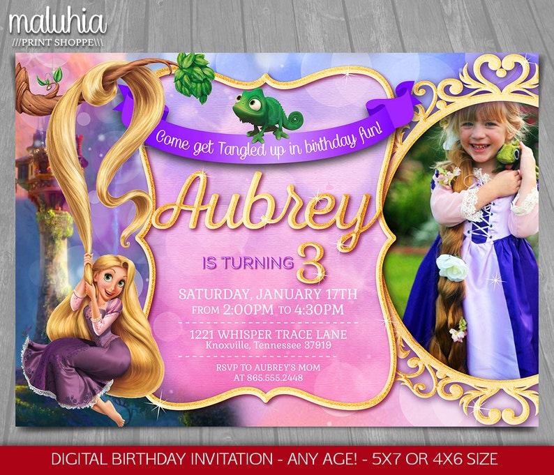 Tangled Invitation Disney Rapunzel Invite Tangled Birthday Etsy