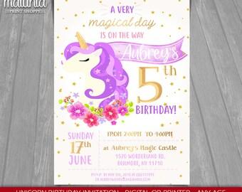 Unicorn Invitation - Unicorn Invite - Unicorn Magical Floral Purple, Gold, Pink Birthday Printed Invitation - Unicorn Party (UNIN01)