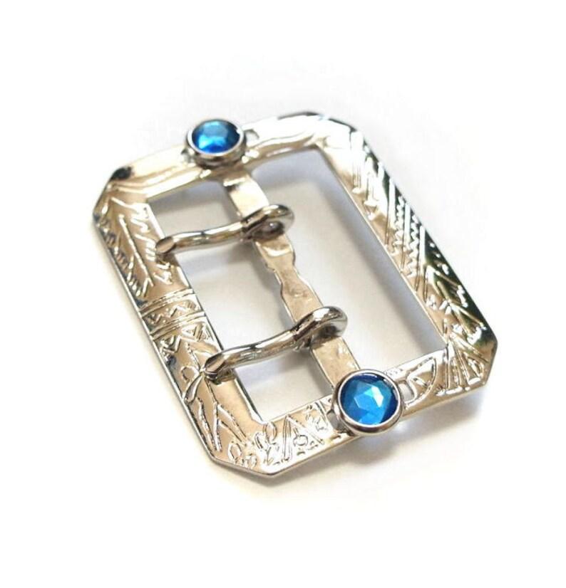 Indian Aztec Motif Double prong Blue Rhinestone Jeweled Octagon Buckle Leather Belt 42mm Vintage Style Zinc Nickel Silver Cast Studded Belt