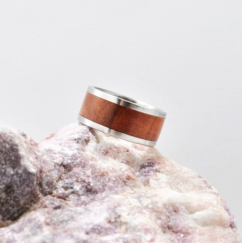 Stainless Steel Ring Wooden Wedding Band Wooden Ring 5th Anniversary Gift