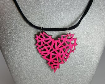 Pink Geometric Wooden Heart Necklace, Laser Engraved Wood With Black Suede Cord And Silver Findings