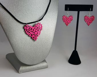 Pink Geometric Wooden Heart Necklace & Earrings Set, Laser Engraved Wood With Black Suede Cord And Silver Fish Hook Earrings