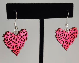 Pink Geometric Wooden Heart Earrings, Laser Engraved Wood With Silver Fish Hook Earrings