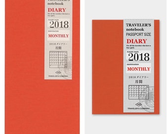 Travelers Notebook (Passport and Regular  Size) 2018 Diary - Monthly