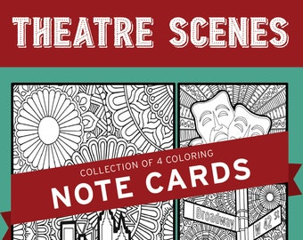 Theatre Scenes, Broadway, Musical, Theater, Hand-drawn, Note Card, Coloring Pages, Wall Art, Theatre Nerd