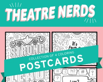 Theatre Nerds, Broadway, Coloring, Strong Female Lead, Rehearsal, Musical, Theater, Gift, Coloring Pages, Wall Art, Theatre Nerd