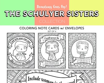 SCHUYLER SISTERS Coloring Hamilton Funko Pop Peggy Angelica Eliza Broadway Musical Theater Page Wall Art Theatre Nerd
