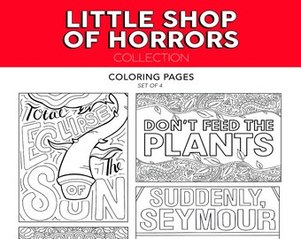 ALL The Little Shop Of Horrors Feed Me Seymour Broadway Musical Theater Hand Drawn Note Card Coloring Pages Wall Art Theatre Nerd