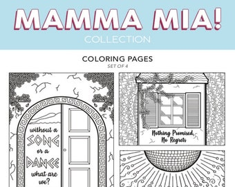 ALL The Mamma Mia Broadway Musical Theater Hand Drawn Note Card Coloring Pages Wall Art Theatre Nerd DIY Dancing Queen