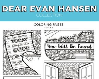 Dear Evan Hansen You Will Be Found Broadway Musical Theater Hand Drawn Note Card Coloring Pages Wall Art Theatre Nerd