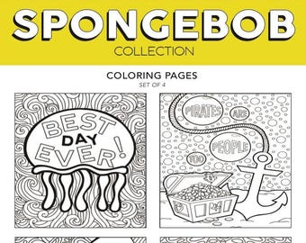 ALL The SpongeBob Broadway Musical Theater Hand Drawn Note Card Coloring Pages Wall Art Theatre Nerd