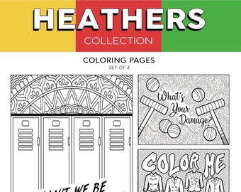 ALL The Heathers Color Me Stoked Broadway Musical Theater Hand Drawn Note Card Coloring Pages Wall Art Theatre Nerd Gift