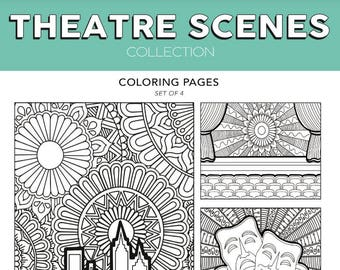 Theatre Scenes Broadway Musical Theater Hand Drawn Note Card Coloring Pages Wall Art Nerd