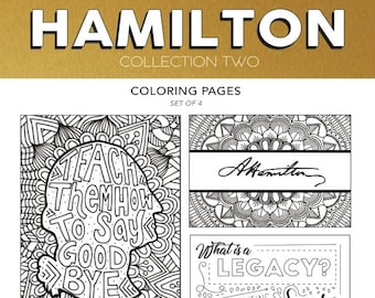 Hamilton Collection Set 2 Broadway Coloring Card Musical Theater Hand Drawn Note Pages Wall Art Theatre Nerd