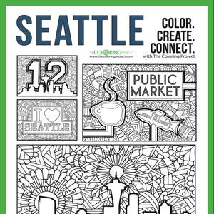 Tcp Seattle Digital Download Coloring Set Of 4 Printable Etsy