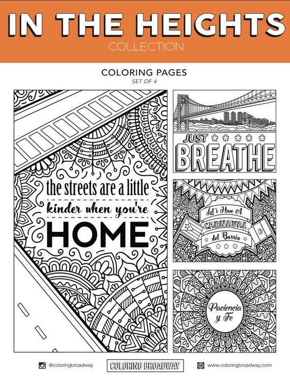 In the Heights Set Of 4 Broadway Coloring Pages Musical
