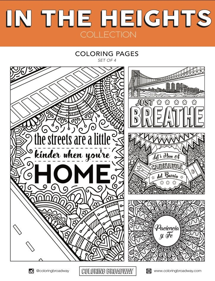 In the Heights Set Of 4 Broadway Coloring Pages Musical | Etsy