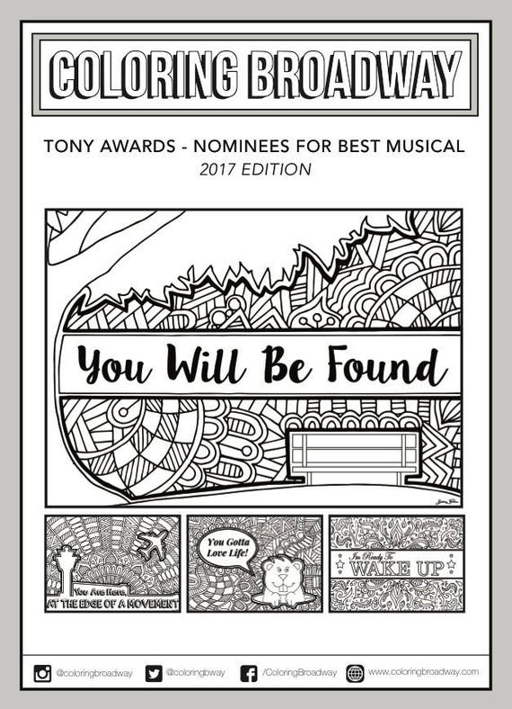 Tony Awards 2017 Coloring Set of 4 Broadway Musical | Etsy