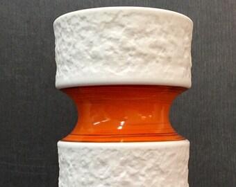 Royale de porcelaine KPM de Bavière, blanc porcelaine vase orange, biscuit, OP-ART 635/2, mat et glacé
