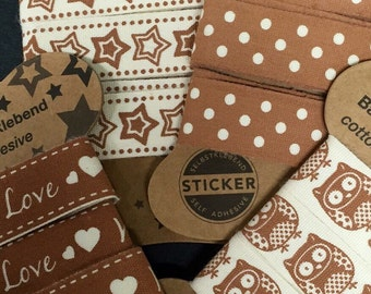 Cotton Ribbon Self-adhesive with great motifs, cotton Band self adhesive, gift wrapping, Dokoband