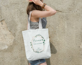 Tote bag witness the bride's geometric crown and leaves (optional badge)