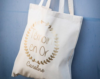 Tote bag cotton personalized wedding witness Witness in customizable Gold