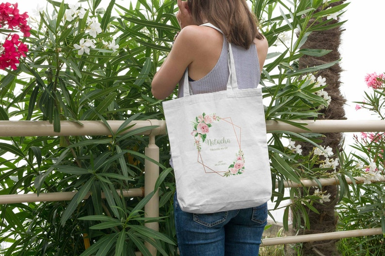 Tote bag witness the bride's geometric crown and flowers image 0