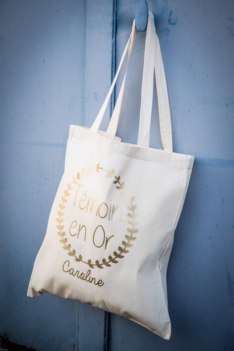 Tote bag personalized wedding witness witness in gold image 0