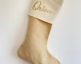 Personalised burlap Christmas boot with a first name