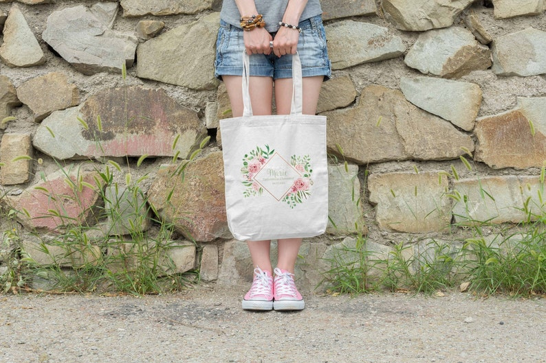 Tote bag bridesmaid geometric crown and flowers optional image 0
